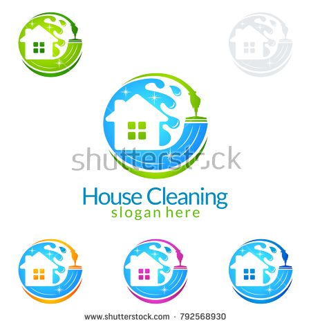 450x470 House Cleaning Vector Logo Design, Eco Friendly With Shiny Home