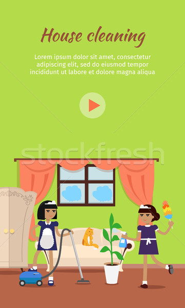 360x600 House Cleaning Vector Video Web Banner Vector Illustration