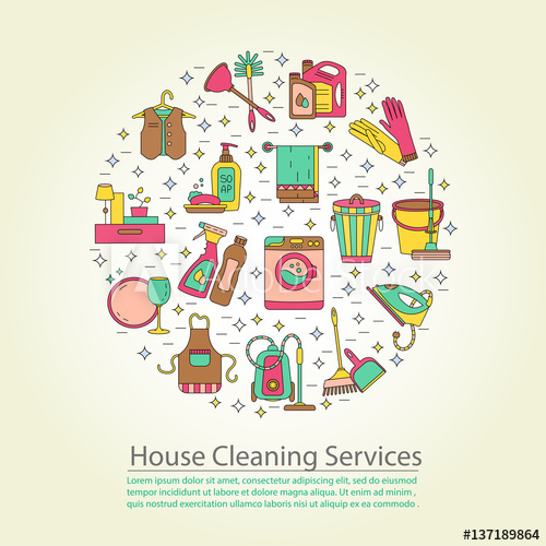 500x500 House Cleaning Vector Card.