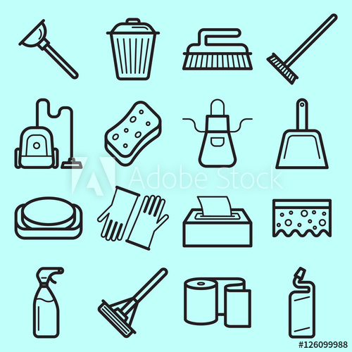 500x500 House Cleaning Vector Icons Set Made In Line Art Style.