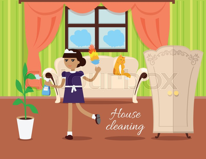 800x615 House Cleaning Vector In Flat Design. Maid With Whisk Dust And