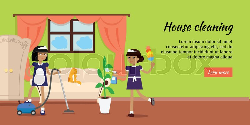 800x400 House Cleaning Vector Web Banner. Flat Design. Maids With Vacuum