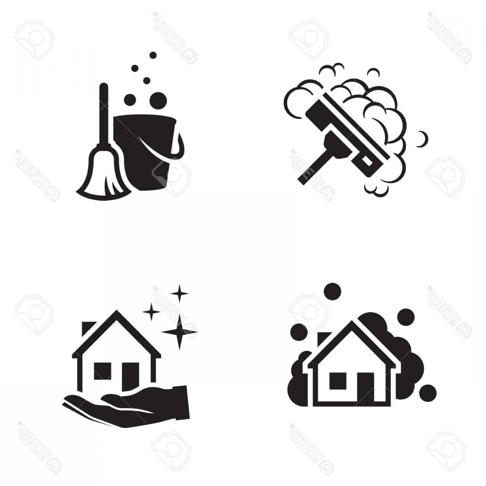 1560x1560 Photostock Vector House Cleaning Services Vector Logo Black Icon