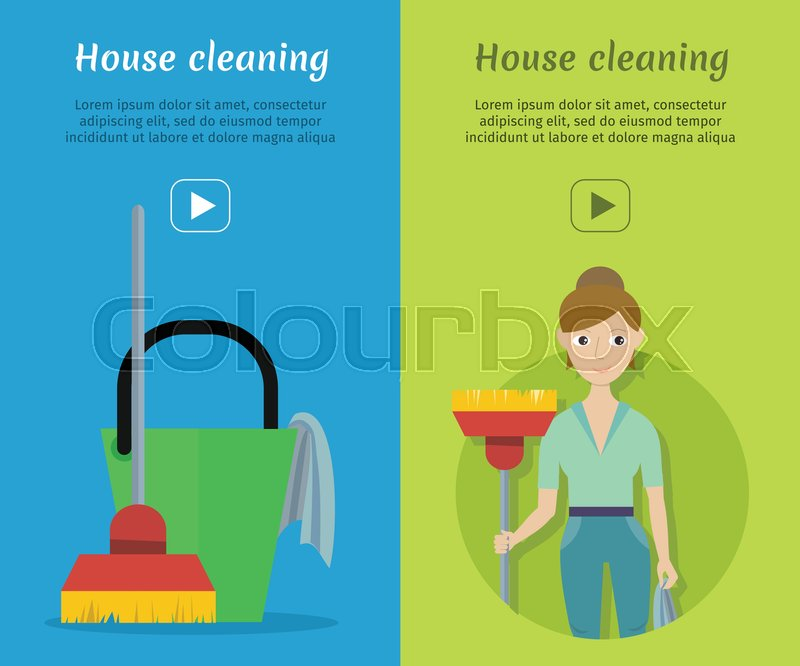800x666 Set Of Cleaning Service Web Banners. Flat Style. House Cleaning