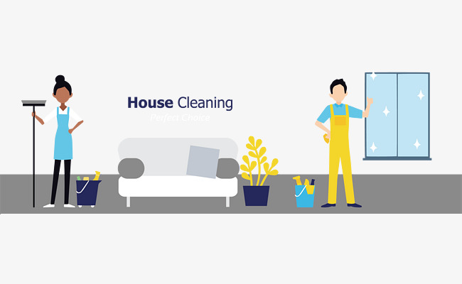 650x400 Vector Hand Painted Household Cleaning Posters, Housework, Clean