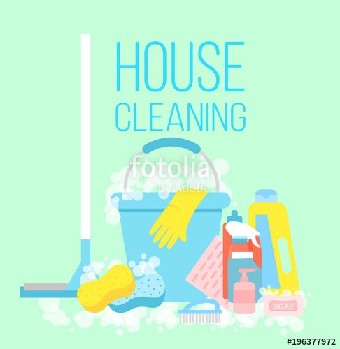 486x500 Vector Illustration Of House Cleaning, Cleaning Service Concept