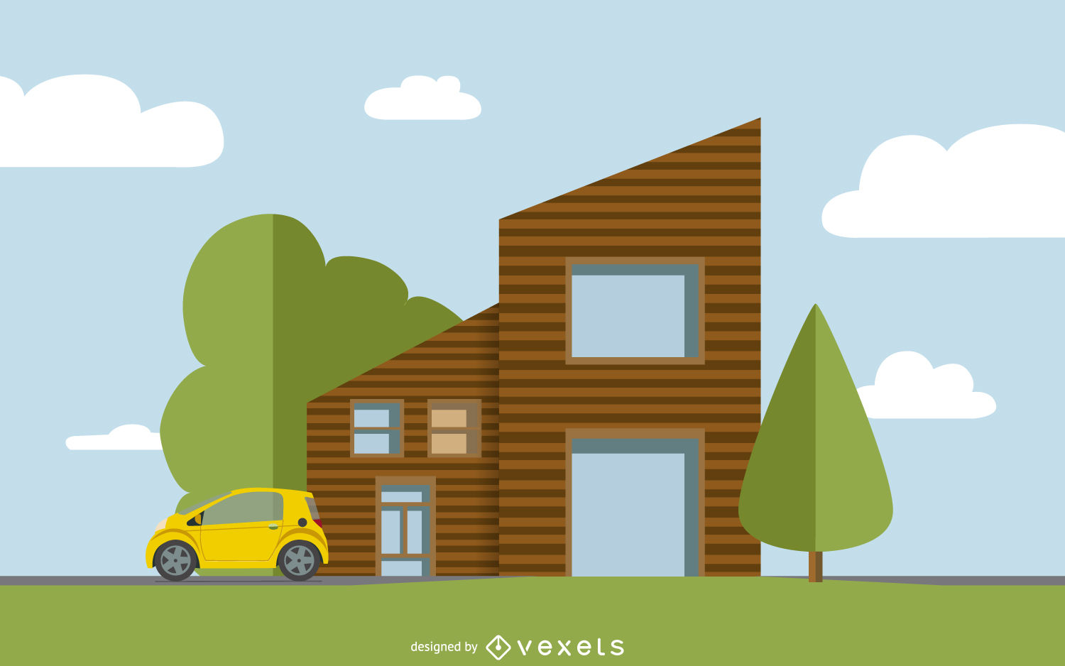 1500x938 Flat House Illustration