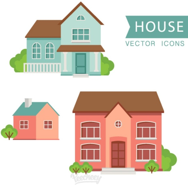 600x590 Houses Flat Design Free Vector In Adobe Illustrator Ai ( .ai
