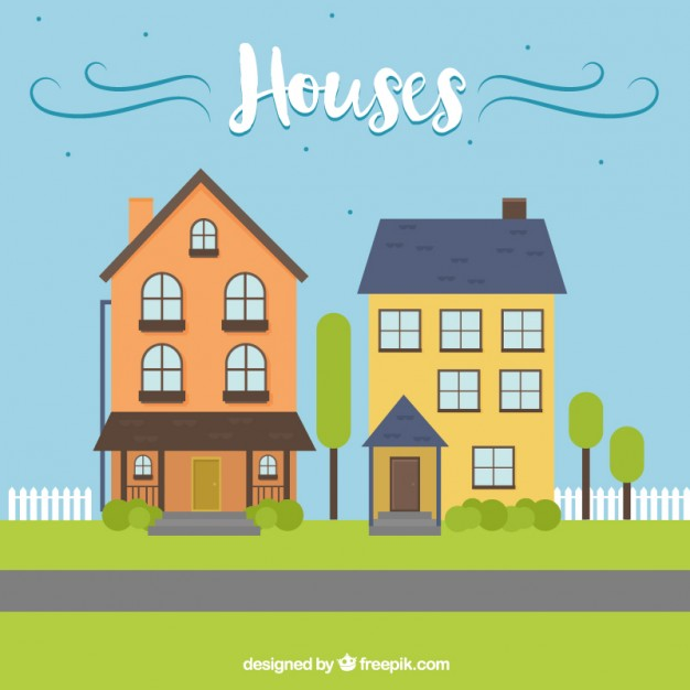 626x626 Houses Illustration Vector Free Download