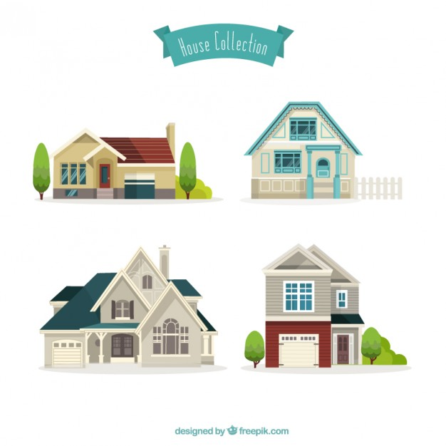 626x626 Nice Houses Collection Vector Free Download