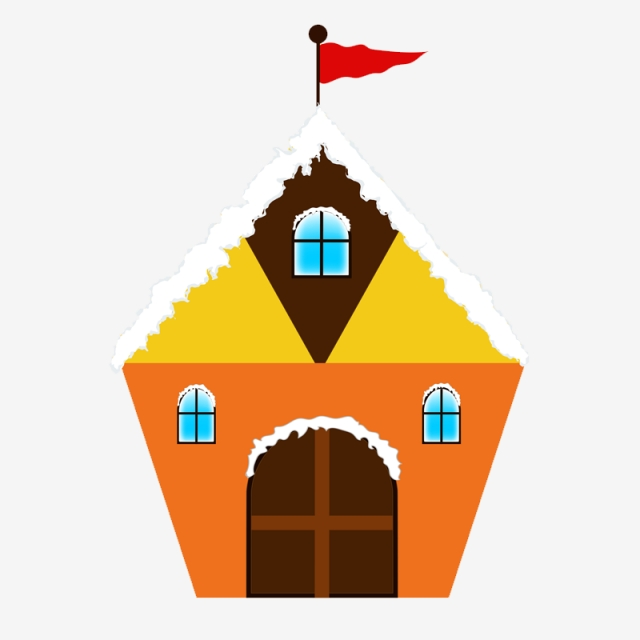 640x640 Snowy House Illustration, Home, Snow Caped House, Flag On House