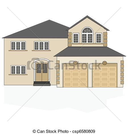 450x470 Suburban House. Illustration Of A Fancy North American Suburban