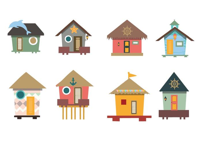700x490 Traditional House Beach Hut Vector