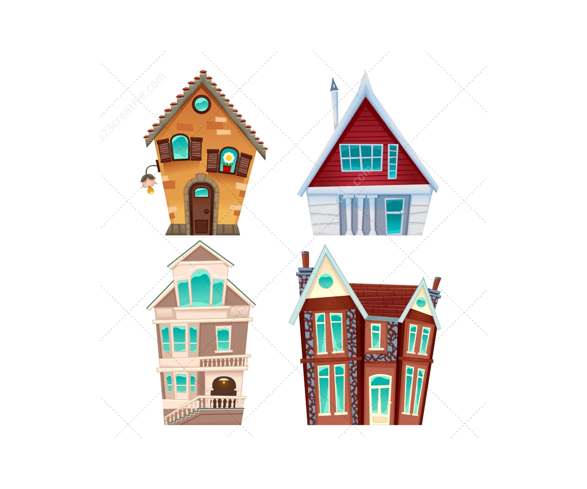 1200x1000 Cartoon House Vector Set