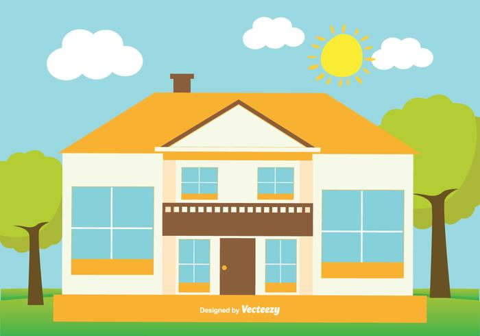 700x490 Cute Flat Style House Illustration