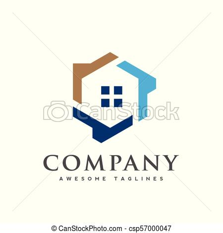 450x470 Hexagon House Logo Vector, Creative Real Estate Logo, Property And