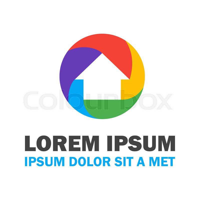 800x800 Colorful House Logo. Vector Logo Design Concept Stock Vector