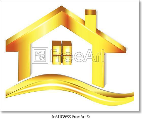560x470 Free Art Print Of Gold House Logo. Gold House Logo Vector Symbol