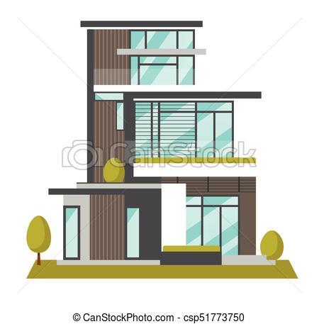 450x457 Big Modern House Vector Cartoon Illustration. Big Modern House