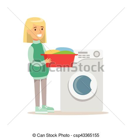 450x470 Girl Loading Washing Machine With Clothes Smiling Cartoon Kid
