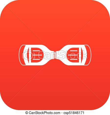 450x470 Hoverboard Gyro Pod Top View Icon Digital Red For Any Design