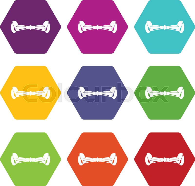 800x764 Hoverboard Icon Set Many Color Hexahedron Isolated On White Vector