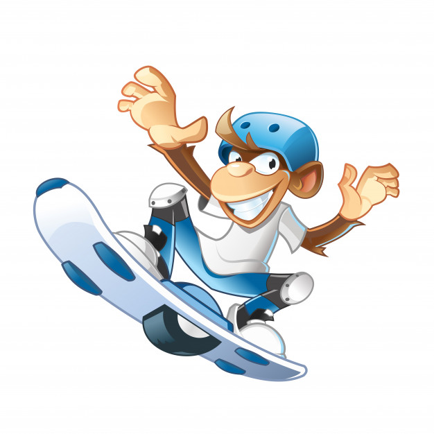 626x626 Monkey Jumping With Hoverboard Vector Premium Download