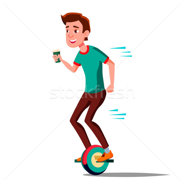 600x600 Teen Boy On Hoverboard Vector. Riding On Gyro Scooter. One Wheel