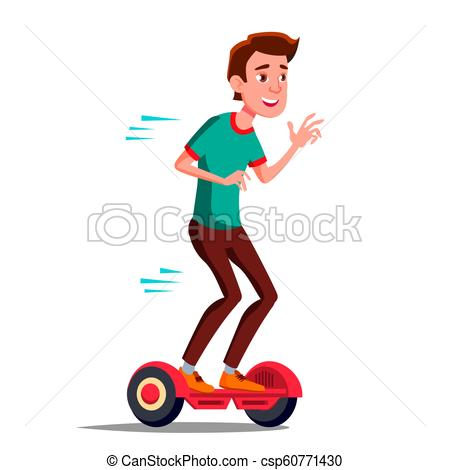 450x470 Teen Boy On Hoverboard Vector. Riding On Gyro Scooter. Outdoor