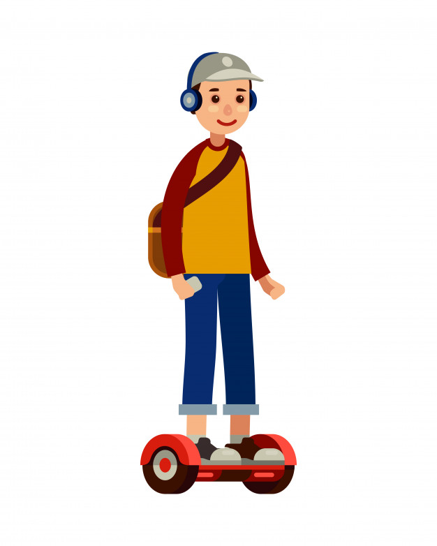 626x782 Young Man On Self Balancing Scooter Hoverboard Vector Premium