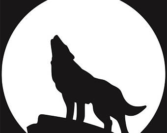 340x270 Howling Wolf Svg Wolf Svg Howling Wolf Clipart Wolf Vector Etsy