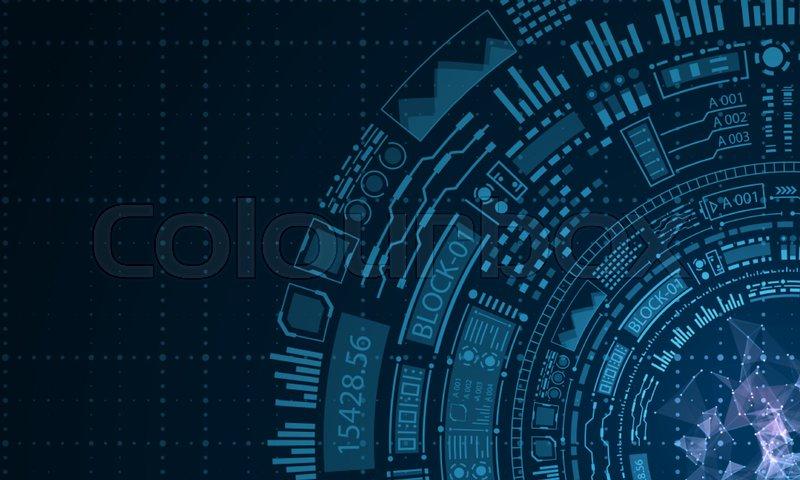 800x480 Futuristic Hud Elements Design, Techno Background