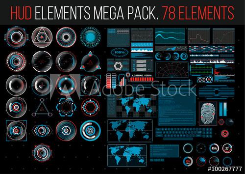500x354 Hud Elements Mega Pack. 78 Elements. Sci Fi Futuristic User