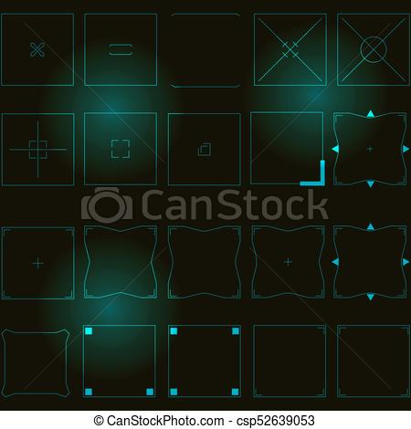 450x470 Sci Fi Modern Futuristic User Interface. Abstract Square Hud Elements.