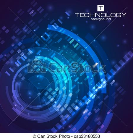 450x470 Technology Background With Hud Elements. Vector Illustration For