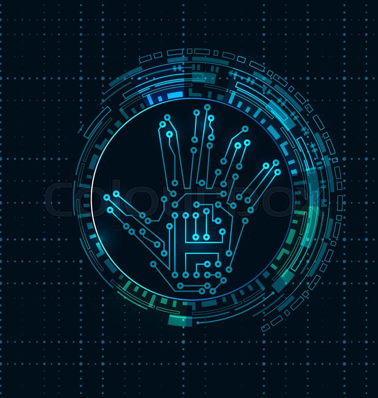 760x800 Abstract Hand With Scan, Electronic Technology Background, Circuit
