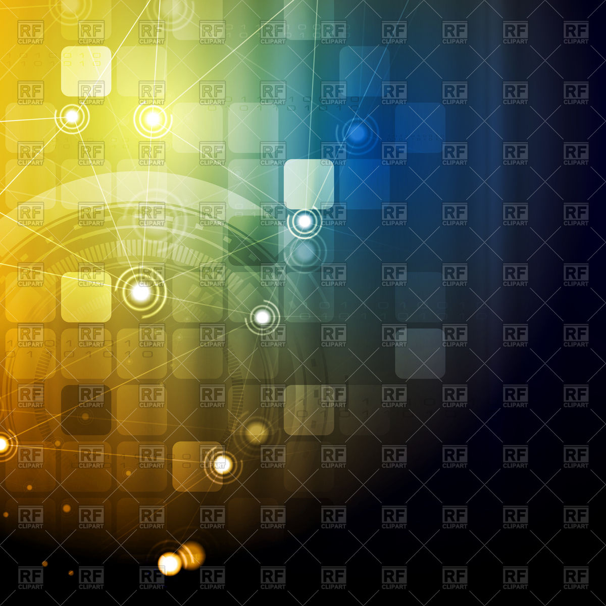 1200x1200 Bright Technology Communication Background With Squares, Gears And