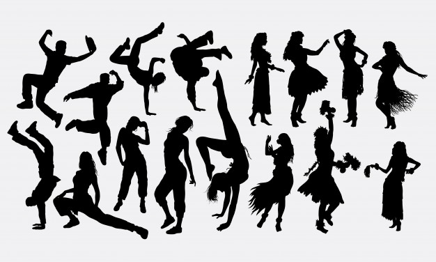 626x376 Breakdance And Hula Girl Dance Silhouette Vector Premium Download