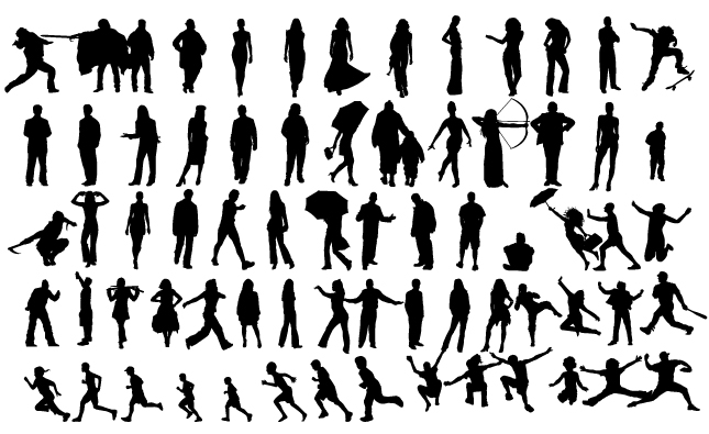 645x395 Human Silhouettes Vector Pack