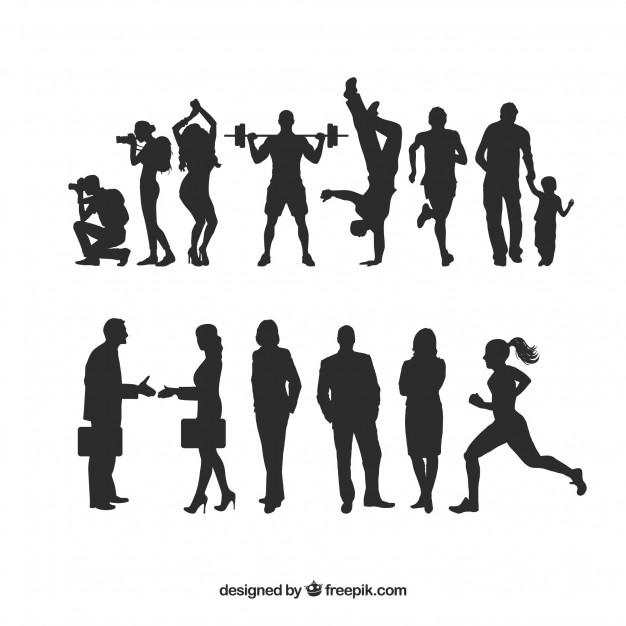 626x626 Human Silhouettes Pack Vector Free Download