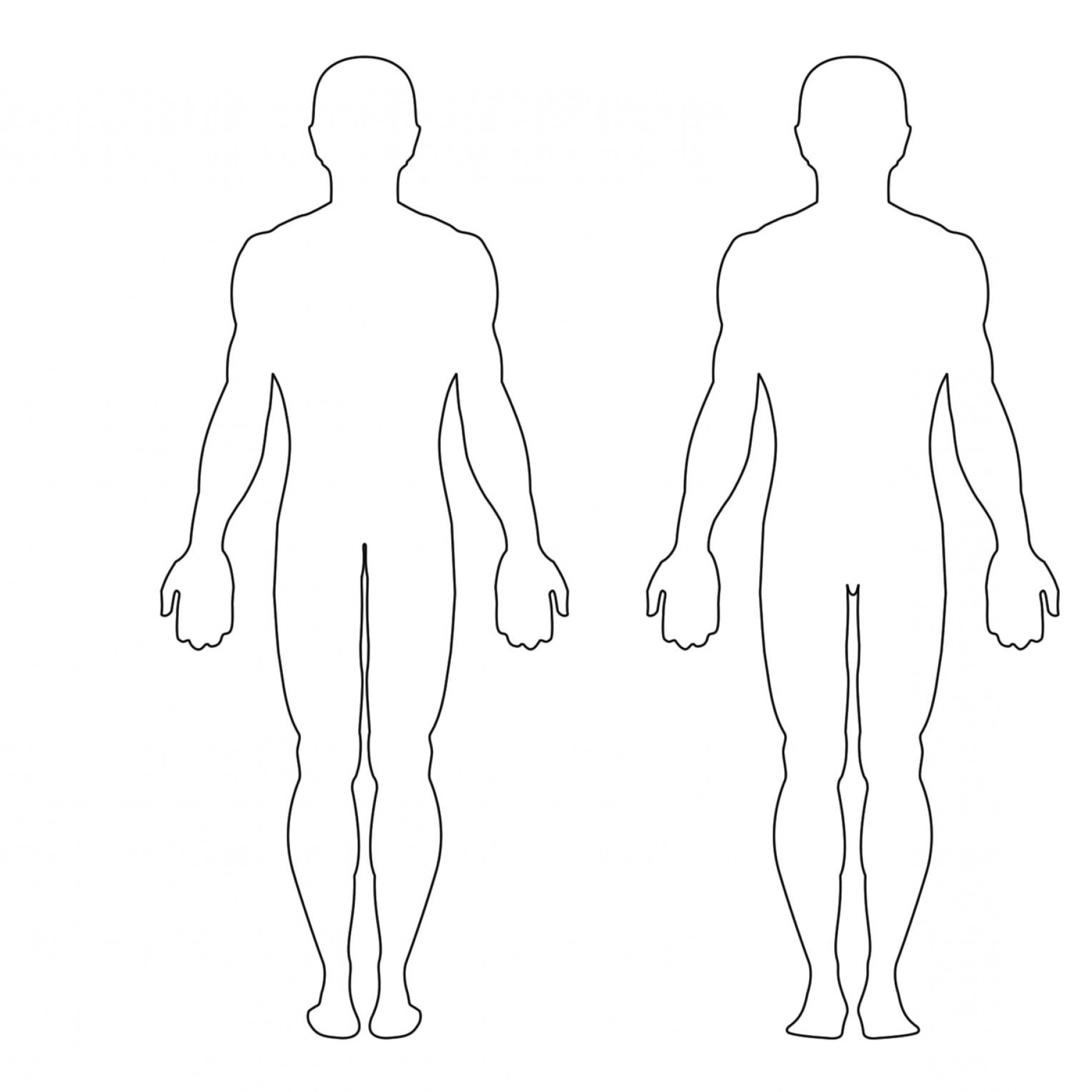 1833x1833 Picture Of Human Body Front And Back Printable Outline Of The Body