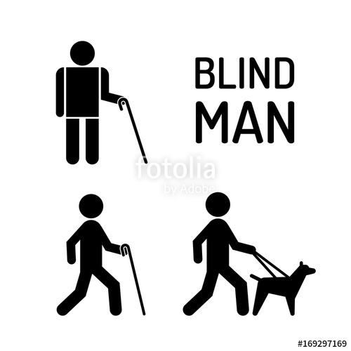 500x500 Set Of Icons Stick Figure With Blind People, The Silhouette Of A