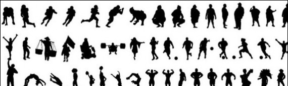 570x172 Awesome People Silhouette Vector Sets
