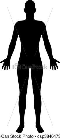 206x470 Stylised Unisex Human Figure Silhouette. A Stylised Unisex Human