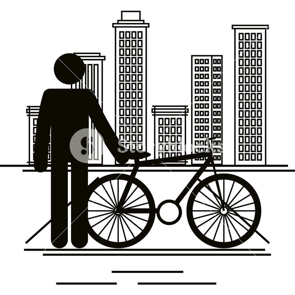 1000x1000 Bicycle Vehicle With Human Figure Vector Illustration Design