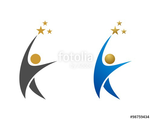 500x400 Human Figure Reaching Star Logo Template Stock Image And Royalty