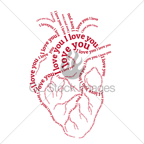 500x500 Red Human Heart, Vector Gl Stock Images
