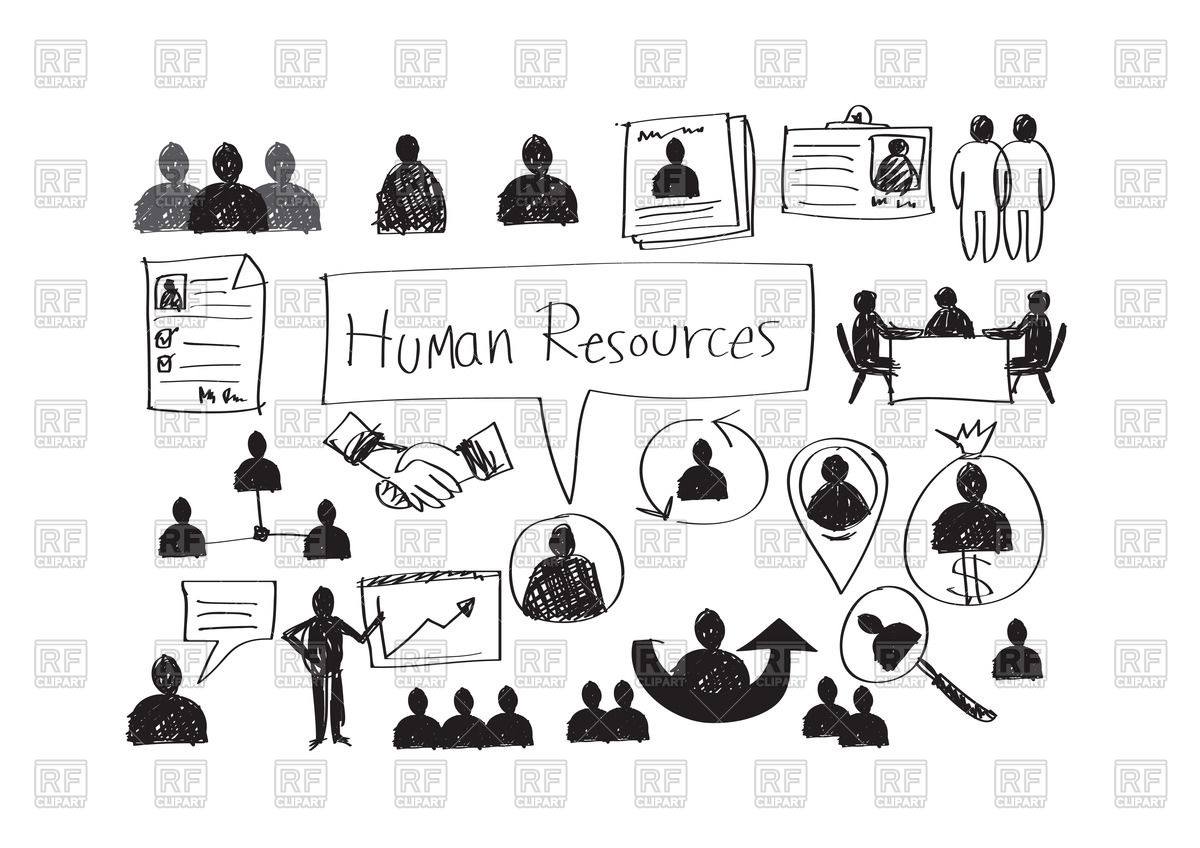 1200x848 Human Resources And Management Icons In Hand Drawn Style Vector