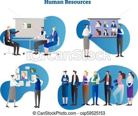 450x377 Human Resources Vector Illustration Collection Set. People