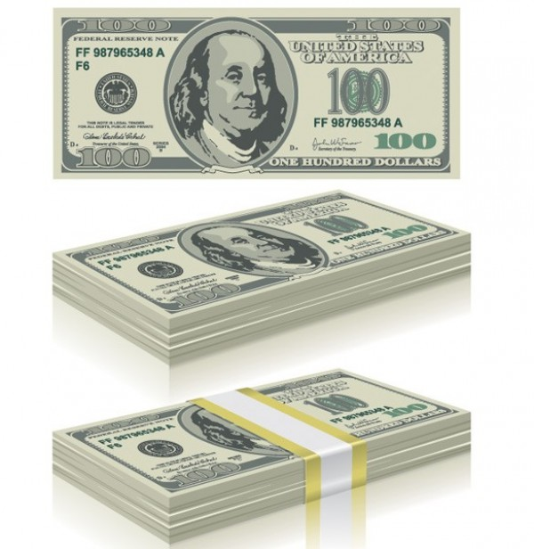 600x616 Stacks Of Hundred Dollar Bills Vector Graphics